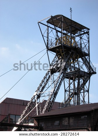 Ancient tower shaft  - coal mine - stock photo