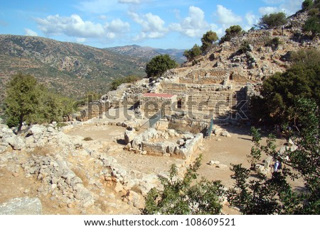 Ancient town Lato in Crete, Greece - stock photo