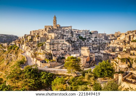 Ancient town of Matera (Sassi di Matera) at sunrise, Basilicata, southern Italy - stock photo