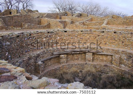 Ancient town of pre-historic Indian cultures of American southwest and surroundings, Aztec Ruins National Monument - stock photo