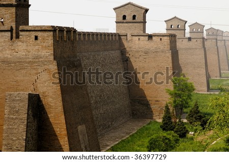 Ancient town wall of ping yao in china - stock photo