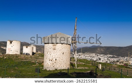 Ancient traditional Aegean windmills in Bodrum, Turkey - stock photo
