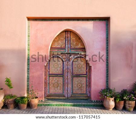 Ancient traditional Arabian architecture - door - stock photo