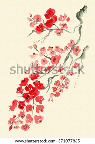 Ancient Traditional Artistic plum blossom - stock photo