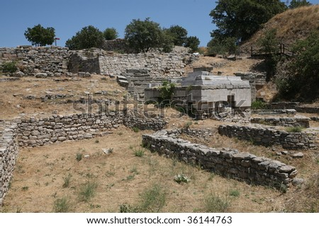 Ancient Troy in Canakkale,Turkey - stock photo