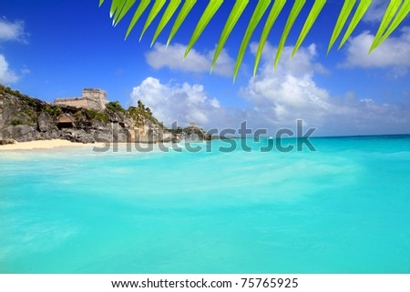 ancient Tulum Mayan ruins view from caribbean sea turquoise [Photo Illustration] - stock photo