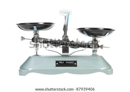 Ancient two pan balance scale, isolated on white - stock photo