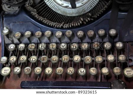 Ancient typewriter keys close up. - stock photo