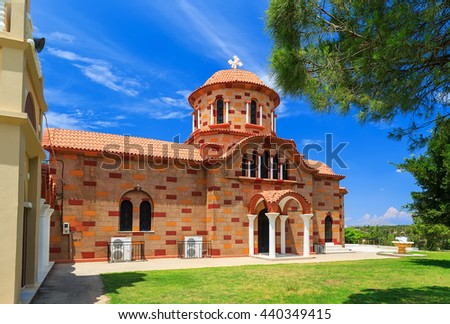 ancient Typical Greek church on Rhodes island, Greece - stock photo