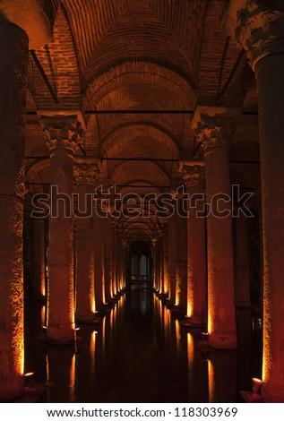 Ancient underground basilica cistern for water storage, Istanbul landmark - stock photo