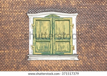 Ancient unique window. Munster, Switzerland - stock photo