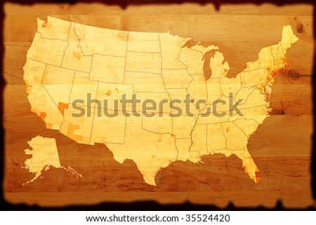 ancient USA map on old paper - stock photo