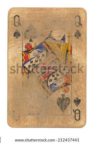 ancient used rubbed playing card queen of spades paper background isolated on white - stock photo