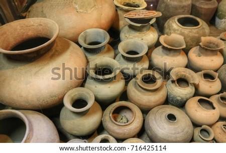 Ancient Vases Thailand Stock Photo Royalty Free 716425114