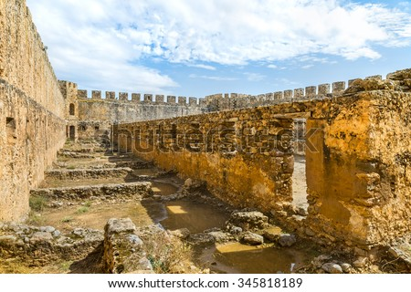 Ancient Venetian fortress Frangokastello.Destroyed buildings of the inner yard.Crete island.District of Chania.Greece.Europe. - stock photo