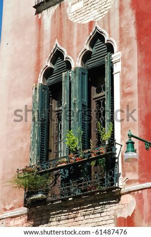 Ancient venetian windows - stock photo