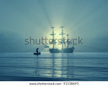ancient vessel in Gulf - stock photo