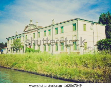 Ancient villa Valmarana vand garden in Padua (Padova) in Veneto, Northern Italy vintage look