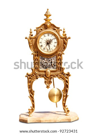 ancient vintage brass pendulum clock isolated on white - stock photo