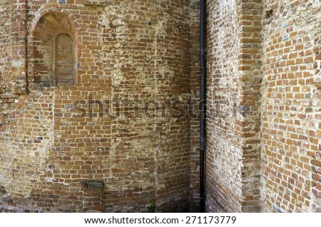 Ancient wall, detail. Color image - stock photo
