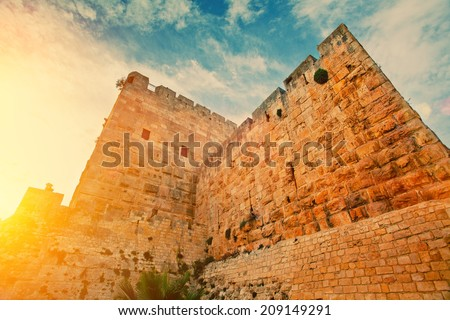 Ancient wall in old city Jerusalem - stock photo