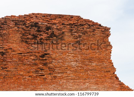 Ancient wall in Thailand - stock photo