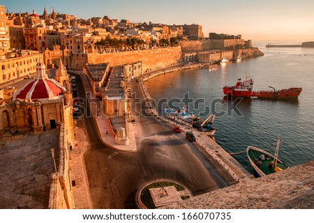 Ancient walls and streets of Valetta- the capital of Malta. - stock photo