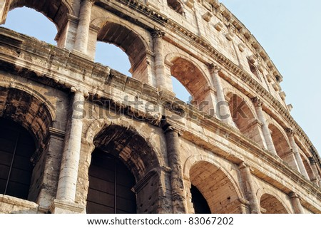 Ancient Walls of Great Roman amphitheater Colosseum in Rome, Italy - stock photo