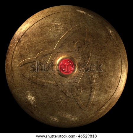 Ancient warrior circle shield on black background - stock photo