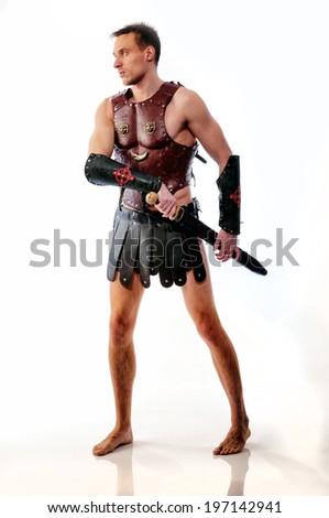 Ancient warrior on white background - stock photo