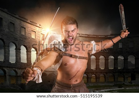 Ancient warrior or Gladiator ready to fight in the arena