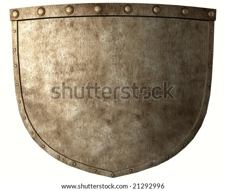 Ancient warrior shield isolated on white - stock photo