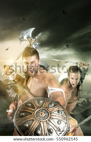 Ancient warriors or Gladiators ready to fight