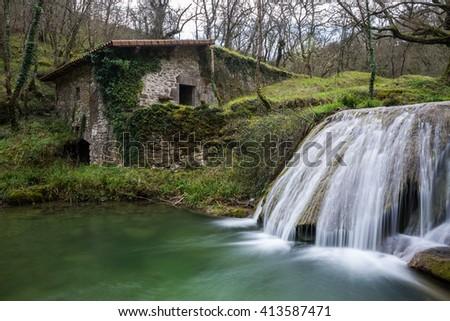 Ancient water mill of Belandia, Vizcaya (Spain) - stock photo