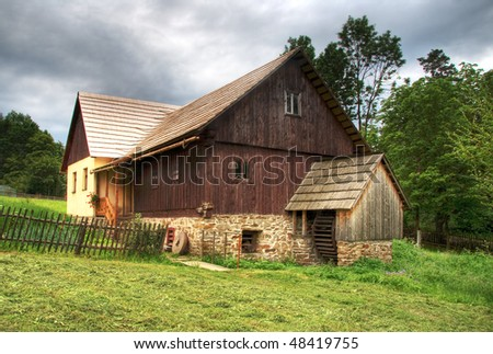 Ancient watermill - stock photo
