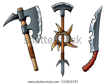 Ancient weapon of barbarians � axes and sword, hi-res raster from vector illustration - stock photo
