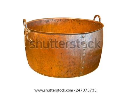 Ancient weathered copper bowl isolated on white background with clipping path - stock photo