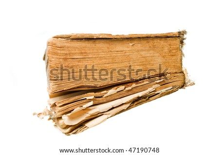 Ancient weathered paper book isolated on white top view - stock photo