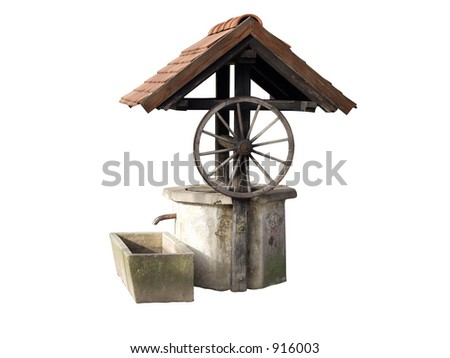 Ancient well made of concrete and wood used in Croatia and some parts of Europe