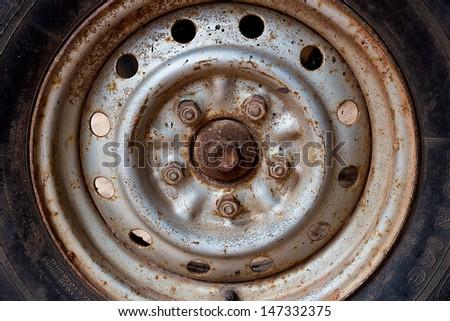 Ancient wheel rim. - stock photo