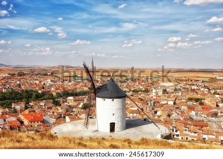 Ancient windmills in the sunny summer day, Konsuegra, Spain - stock photo