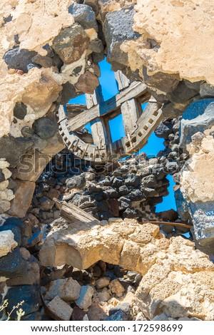Ancient windmills of Santorini island,Crete,Greece. View of Fira town - stock photo