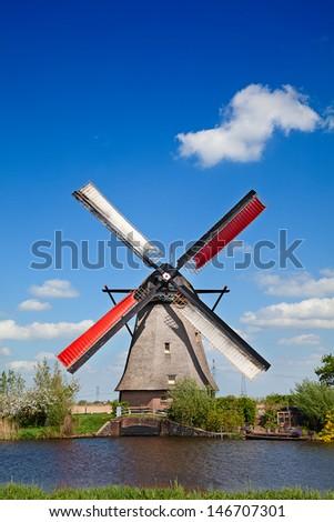 Ancient windmils near Kinderdijk, Netherlands - stock photo