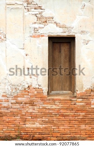 Ancient window and wall of temple,Thailand - stock photo