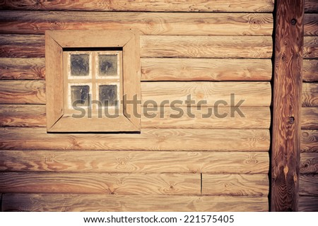 ancient window in a traditional Ukrainian house - stock photo