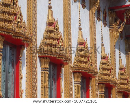 Ancient windows in Thai temple of Wat Samien Naree