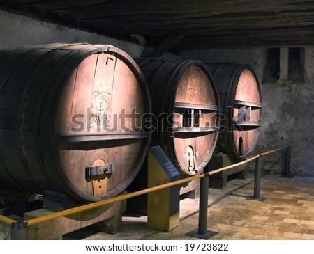 Ancient wine barrels in Kyburg castle (Switzerland) - stock photo