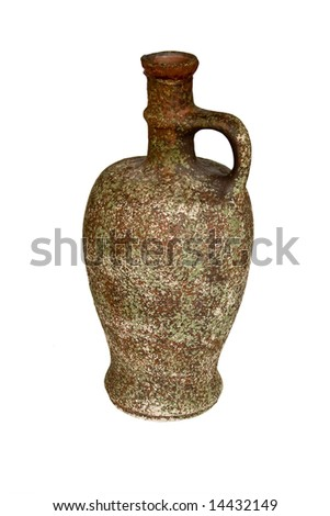 ancient wine jug isolated on white - stock photo