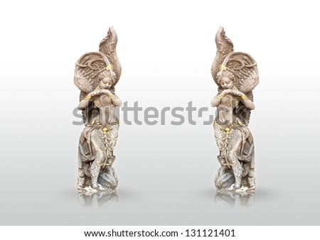 Ancient woman statue isolated and refraction on the white background - stock photo