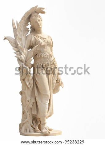 Ancient women statue in the Thai historical park. - stock photo